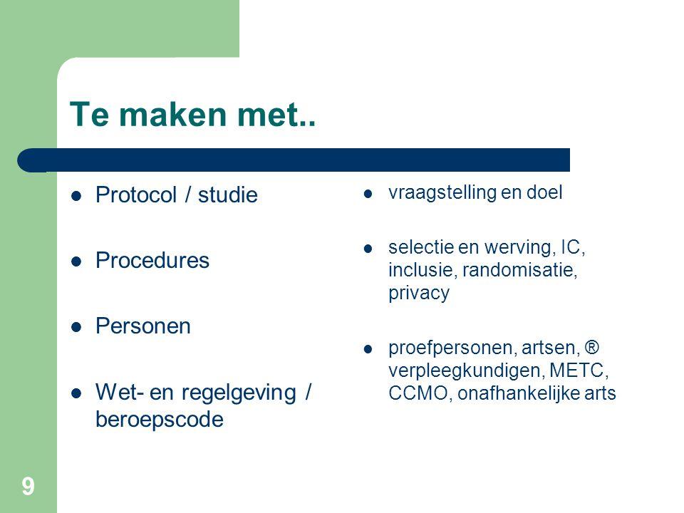 Te maken met.. Protocol / studie Procedures Personen