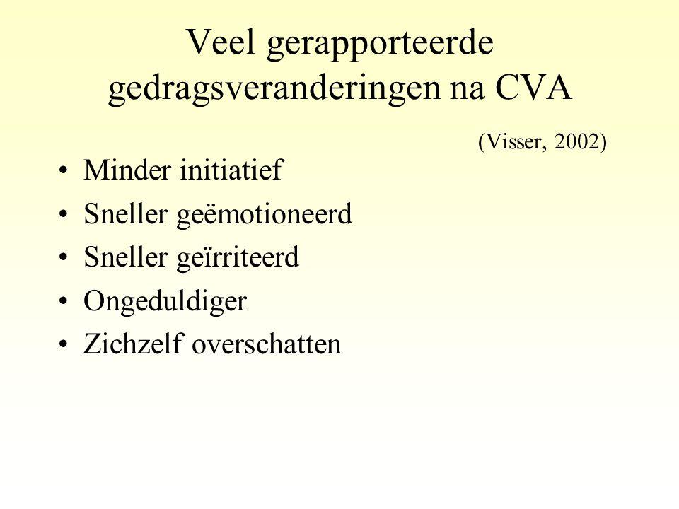 Veel gerapporteerde gedragsveranderingen na CVA (Visser, 2002)