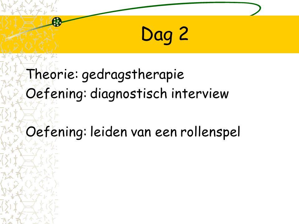 Dag 2 Theorie: gedragstherapie Oefening: diagnostisch interview Oefening: leiden van een rollenspel