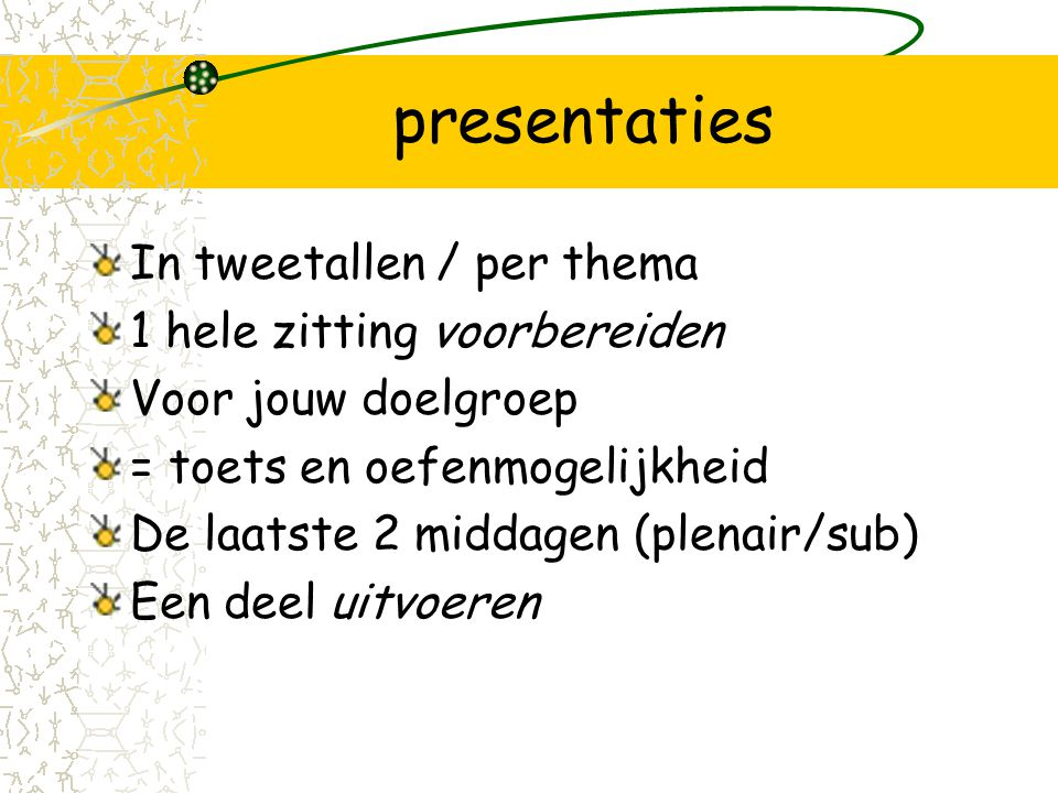presentaties In tweetallen / per thema 1 hele zitting voorbereiden
