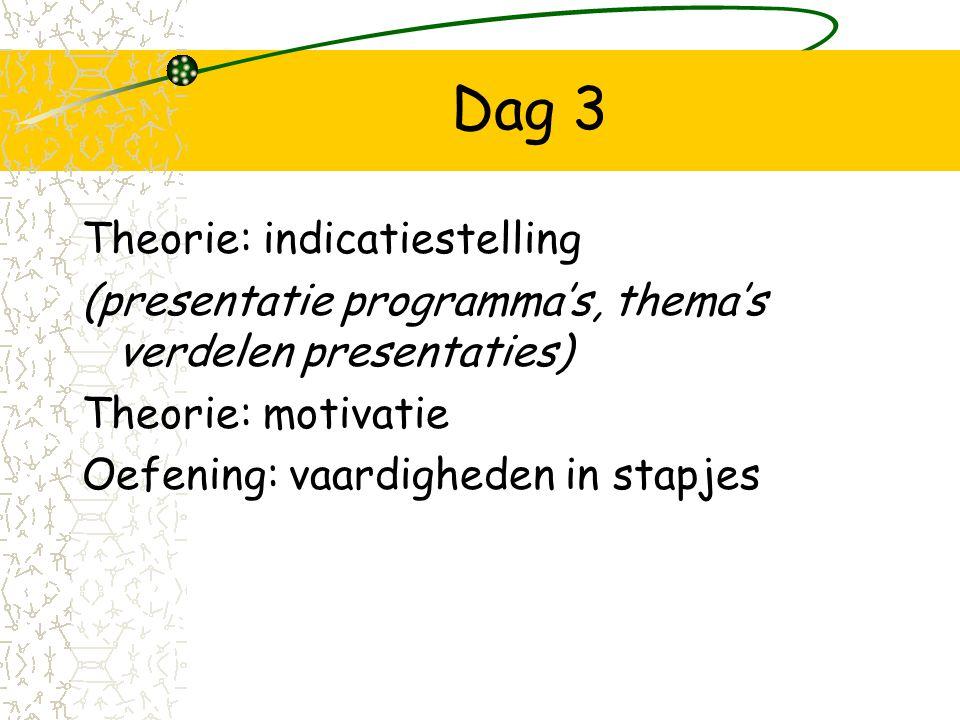 Dag 3 Theorie: indicatiestelling (presentatie programma's, thema's verdelen presentaties) Theorie: motivatie Oefening: vaardigheden in stapjes