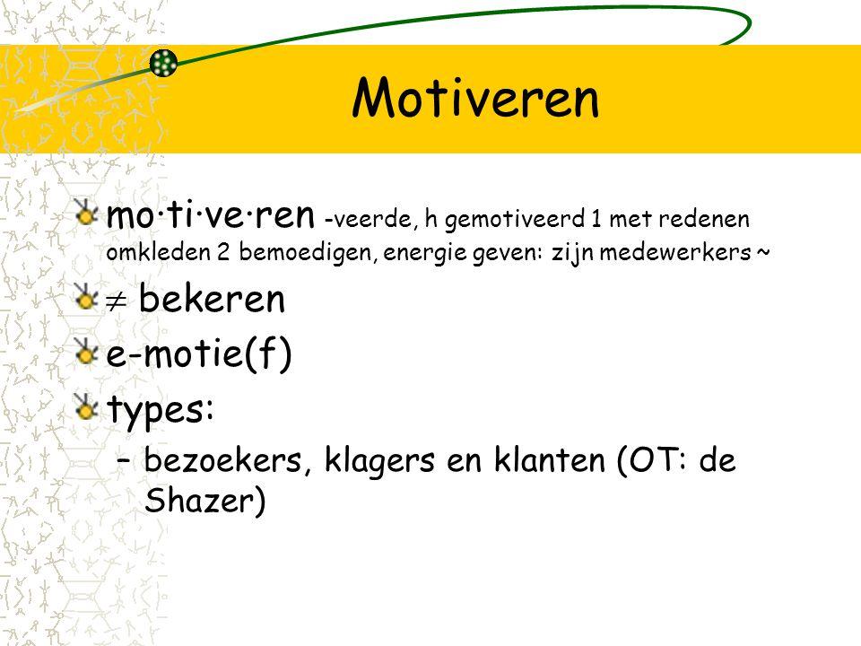 Motiveren mo·ti·ve·ren -veerde, h gemotiveerd 1 met redenen omkleden 2 bemoedigen, energie geven: zijn medewerkers ~