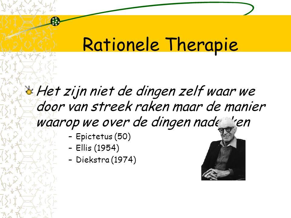 Rationele Therapie Het zijn niet de dingen zelf waar we door van streek raken maar de manier waarop we over de dingen nadenken.