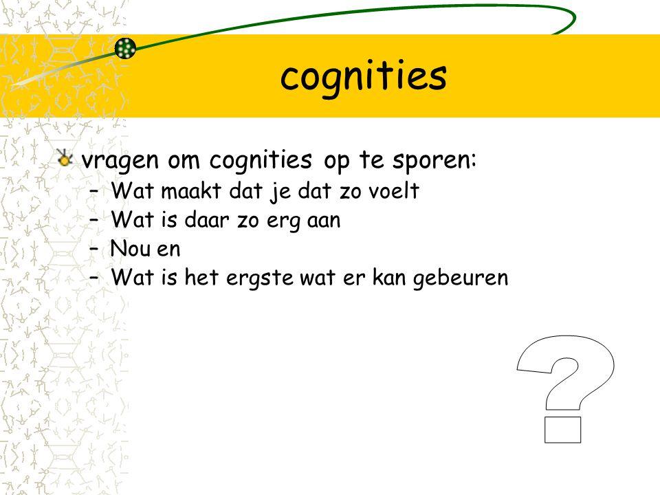 cognities vragen om cognities op te sporen:
