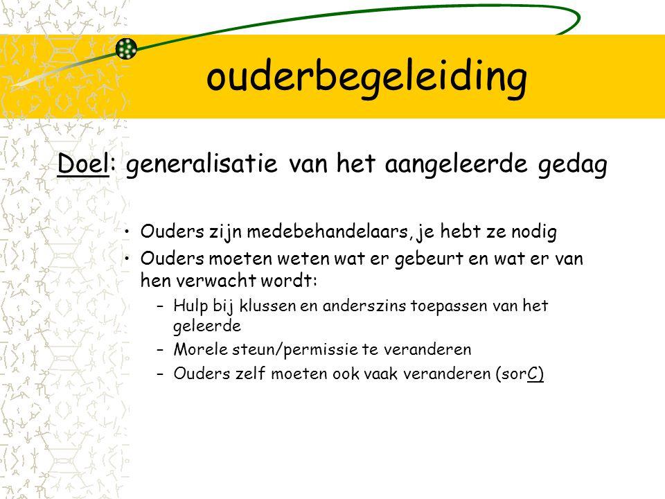 ouderbegeleiding Doel: generalisatie van het aangeleerde gedag