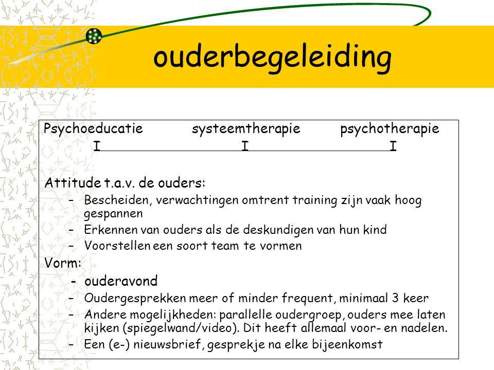 ouderbegeleiding Psychoeducatie systeemtherapie psychotherapie I I I