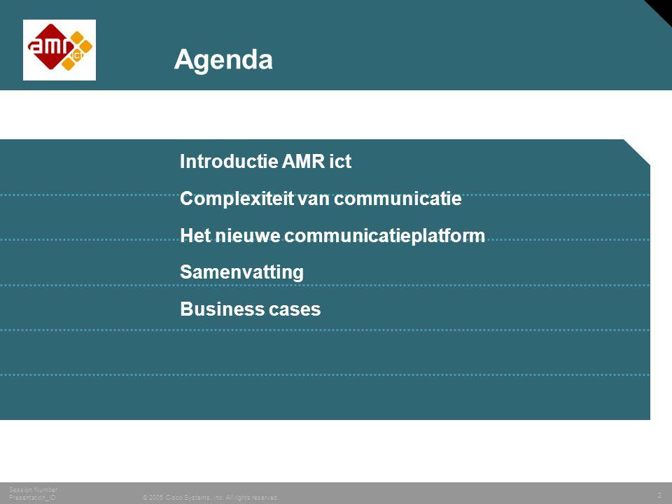 Agenda Introductie AMR ict Complexiteit van communicatie