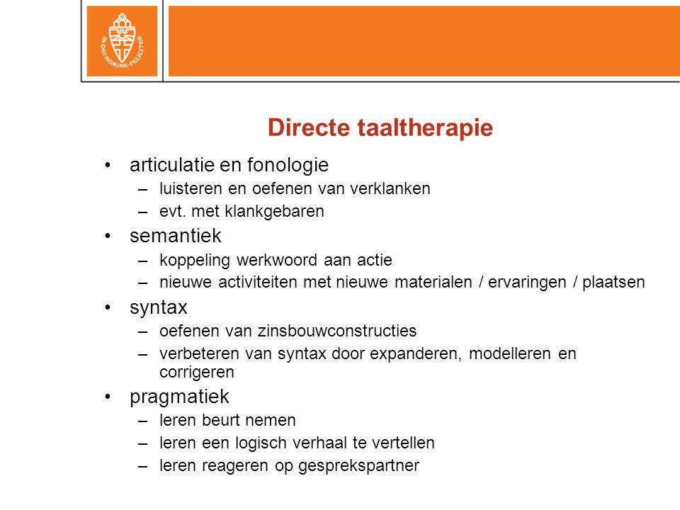 Directe taaltherapie articulatie en fonologie semantiek syntax