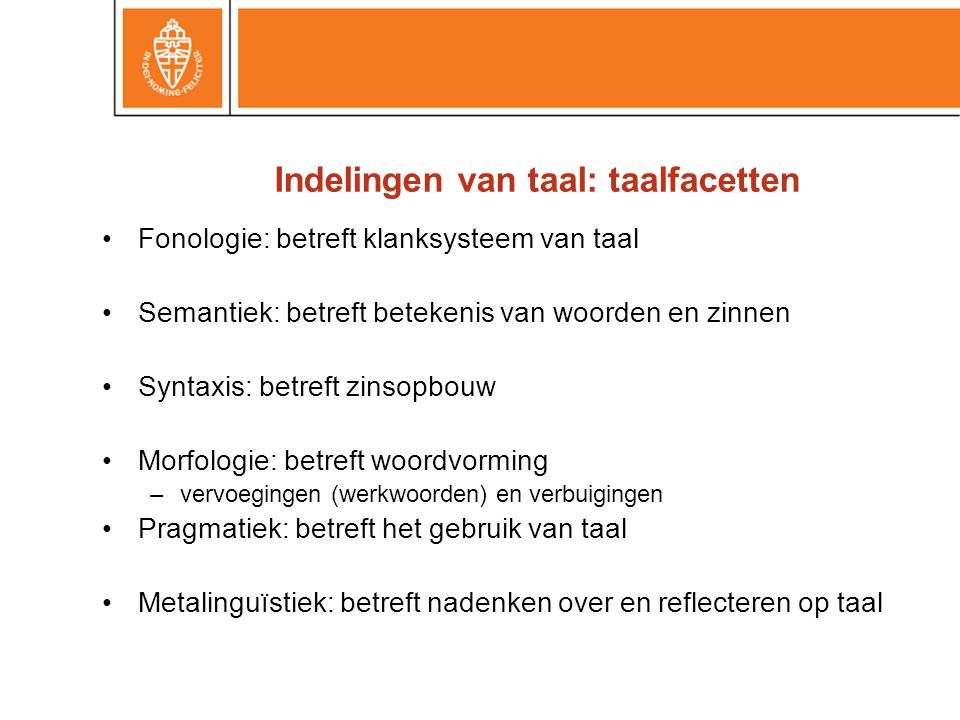Indelingen van taal: taalfacetten