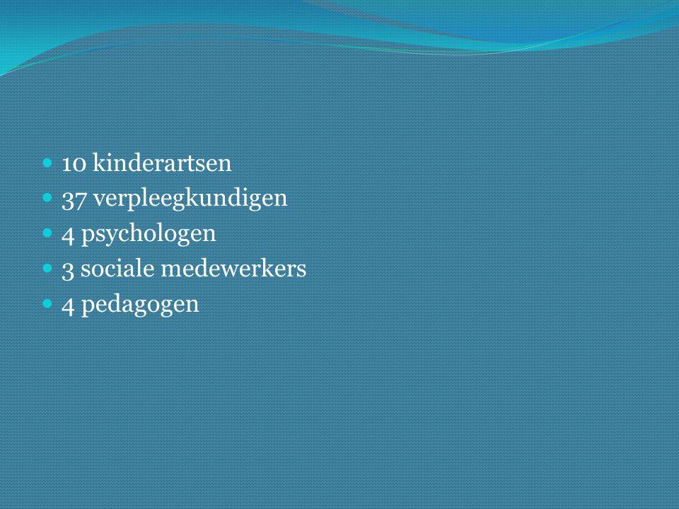 10 kinderartsen 37 verpleegkundigen 4 psychologen 3 sociale medewerkers 4 pedagogen