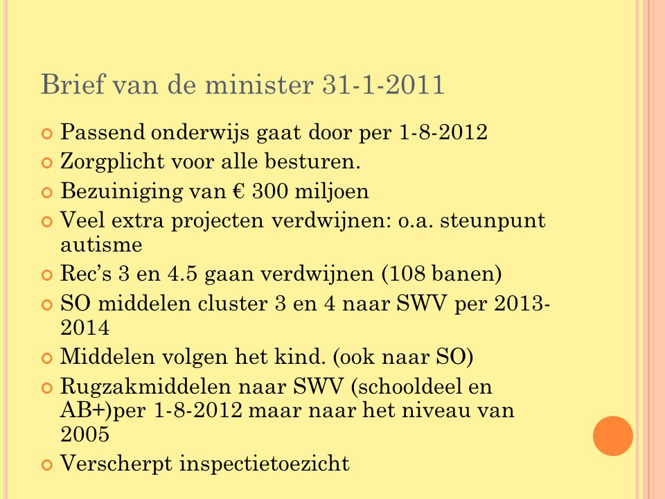 Brief van de minister 31-1-2011