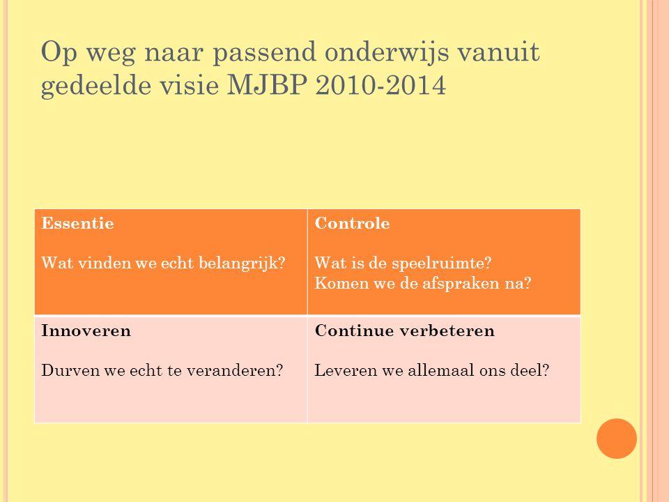 Op weg naar passend onderwijs vanuit gedeelde visie MJBP 2010-2014