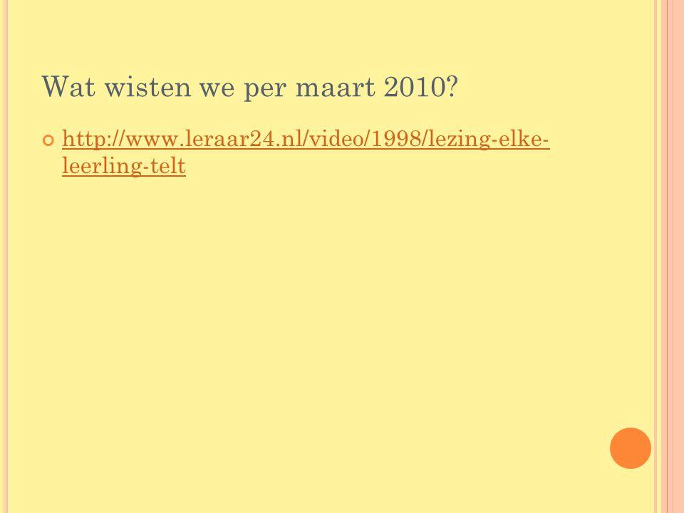 Wat wisten we per maart 2010 http://www.leraar24.nl/video/1998/lezing-elke- leerling-telt