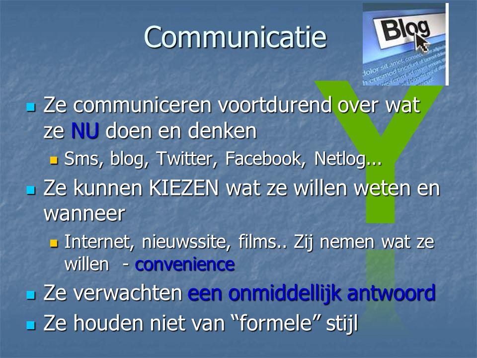 Communicatie Ze communiceren voortdurend over wat ze NU doen en denken