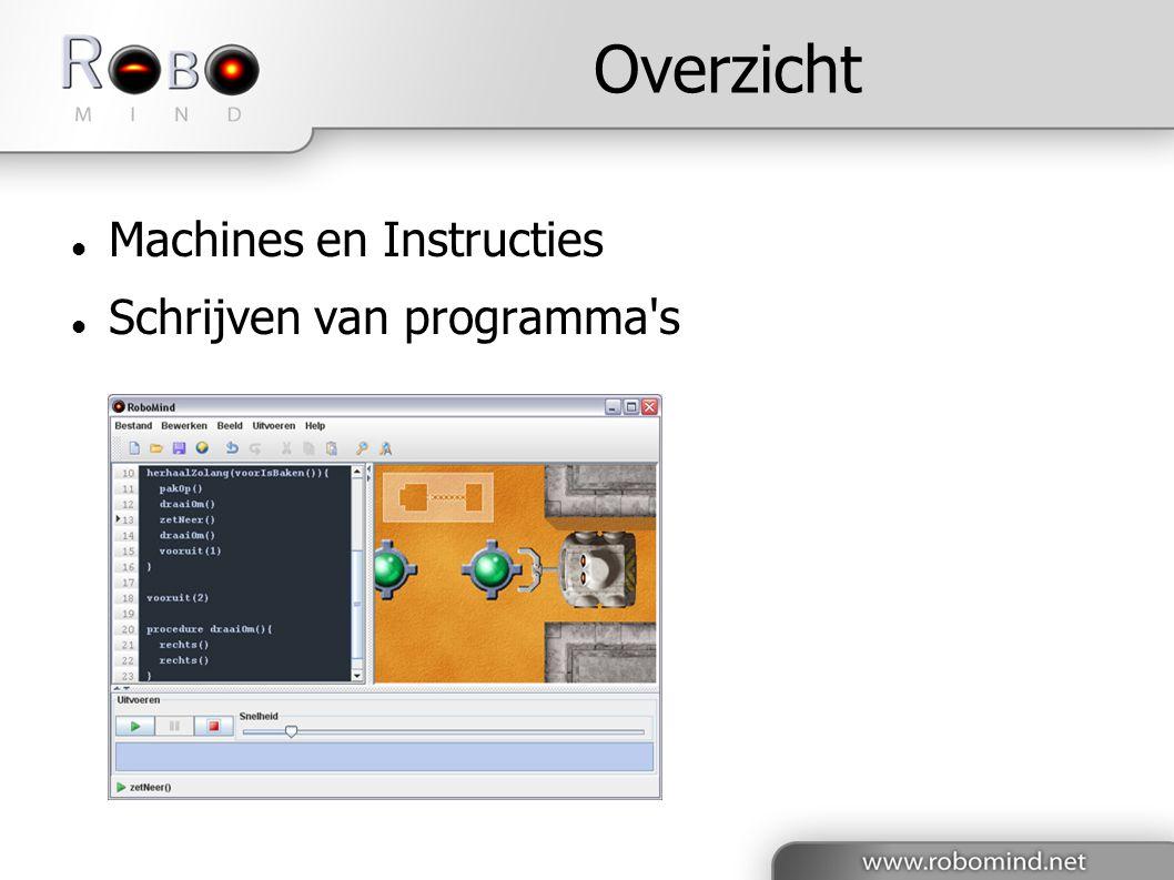 Overzicht Machines en Instructies Schrijven van programma s