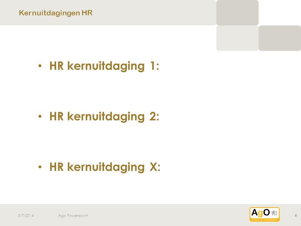 HR kernuitdaging 1: HR kernuitdaging 2: HR kernuitdaging X: