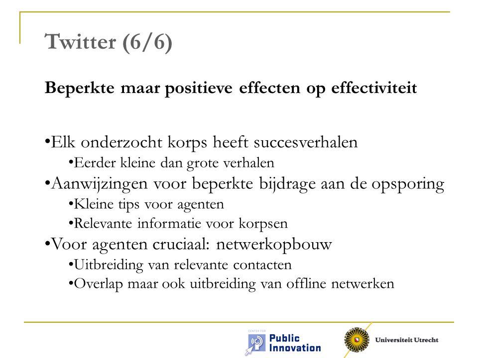 Twitter (6/6) Beperkte maar positieve effecten op effectiviteit