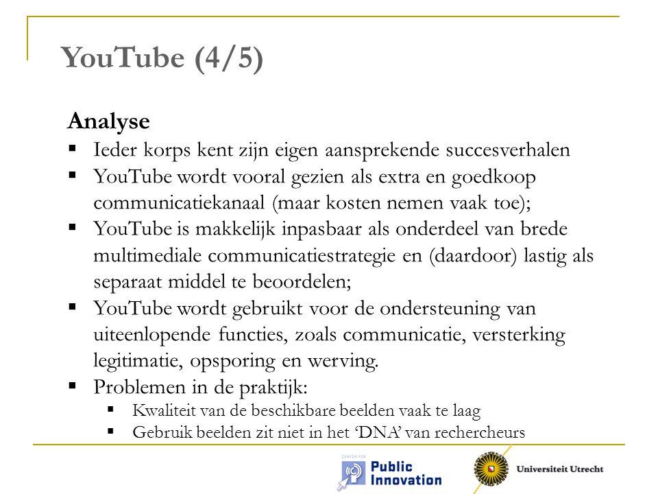 YouTube (4/5) Analyse. Ieder korps kent zijn eigen aansprekende succesverhalen.