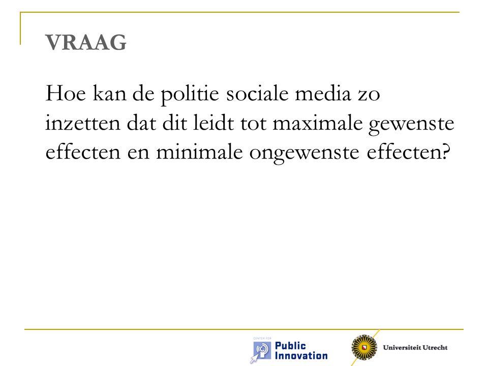 VRAAG Hoe kan de politie sociale media zo inzetten dat dit leidt tot maximale gewenste effecten en minimale ongewenste effecten