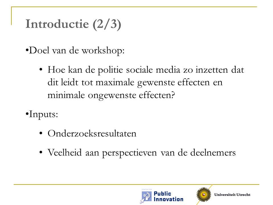 Introductie (2/3) Doel van de workshop: