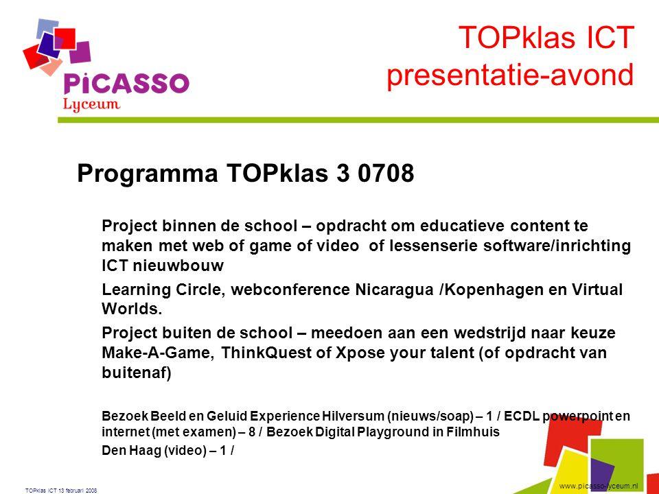 TOPklas ICT presentatie-avond Programma TOPklas 3 0708
