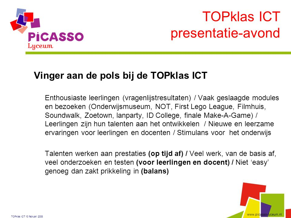 TOPklas ICT presentatie-avond Vinger aan de pols bij de TOPklas ICT