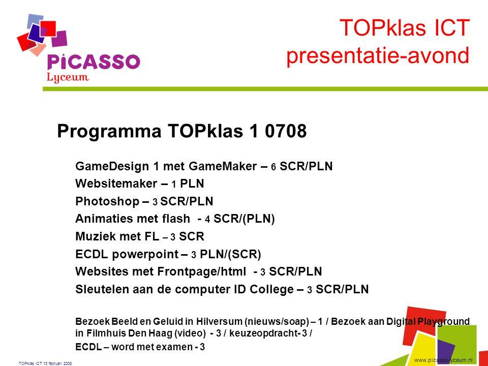 TOPklas ICT presentatie-avond Programma TOPklas 1 0708