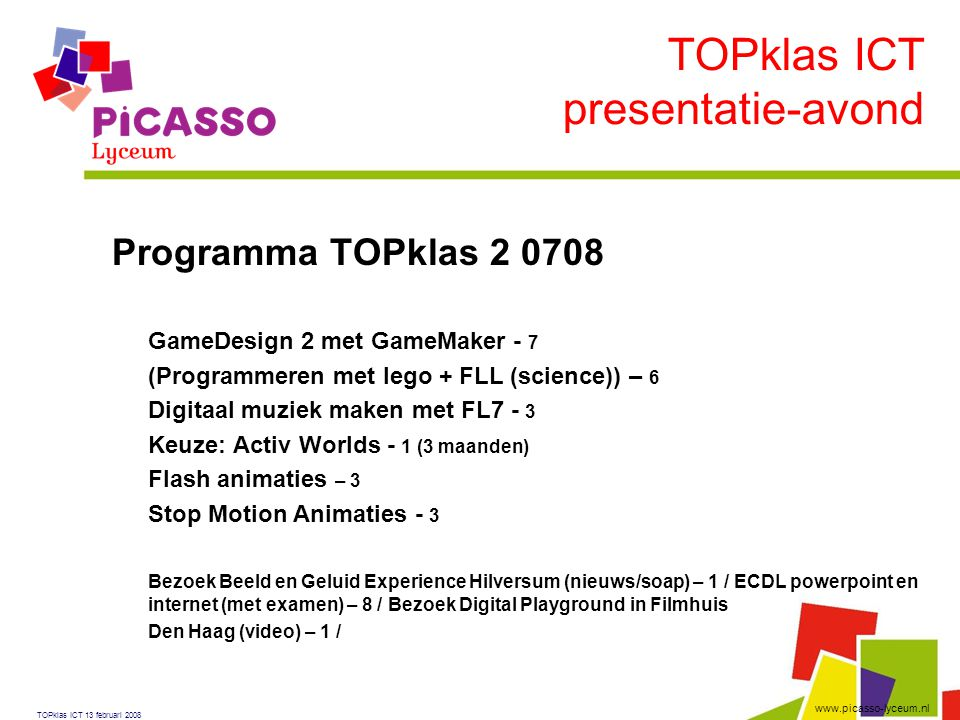 TOPklas ICT presentatie-avond Programma TOPklas 2 0708