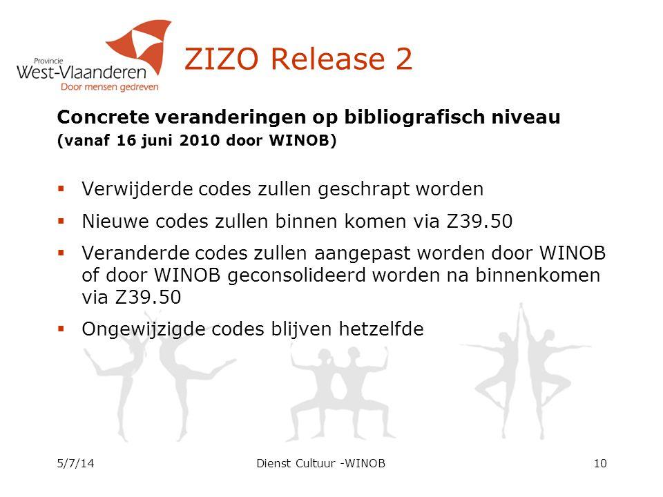 ZIZO Release 2 Concrete veranderingen op bibliografisch niveau