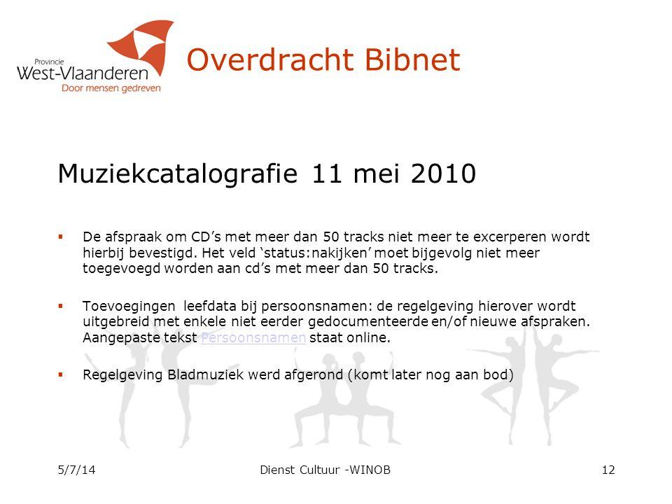 Overdracht Bibnet Muziekcatalografie 11 mei 2010