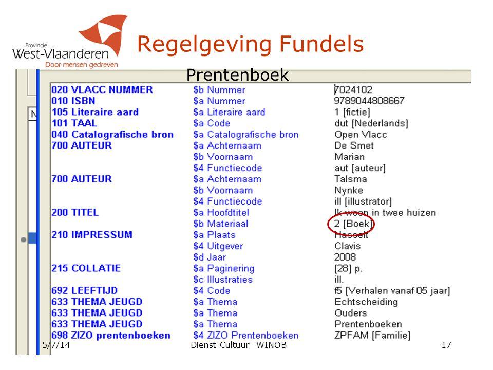 Regelgeving Fundels Prentenboek 4/4/17 Dienst Cultuur -WINOB
