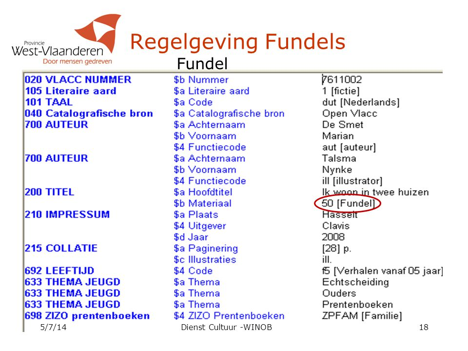 Regelgeving Fundels Fundel 4/4/17 Dienst Cultuur -WINOB