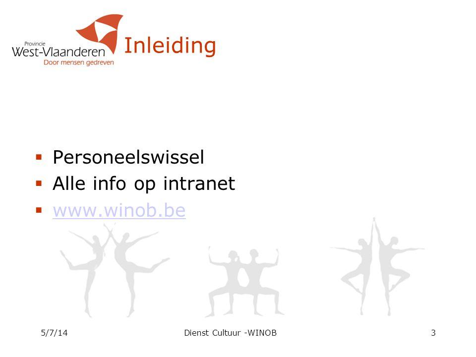 Inleiding Personeelswissel Alle info op intranet www.winob.be 4/4/17