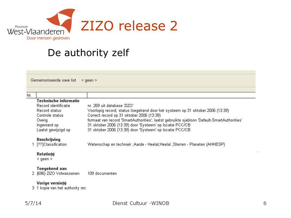ZIZO release 2 De authority zelf 4/4/17 Dienst Cultuur -WINOB