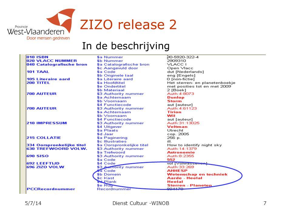 ZIZO release 2 In de beschrijving 4/4/17 Dienst Cultuur -WINOB