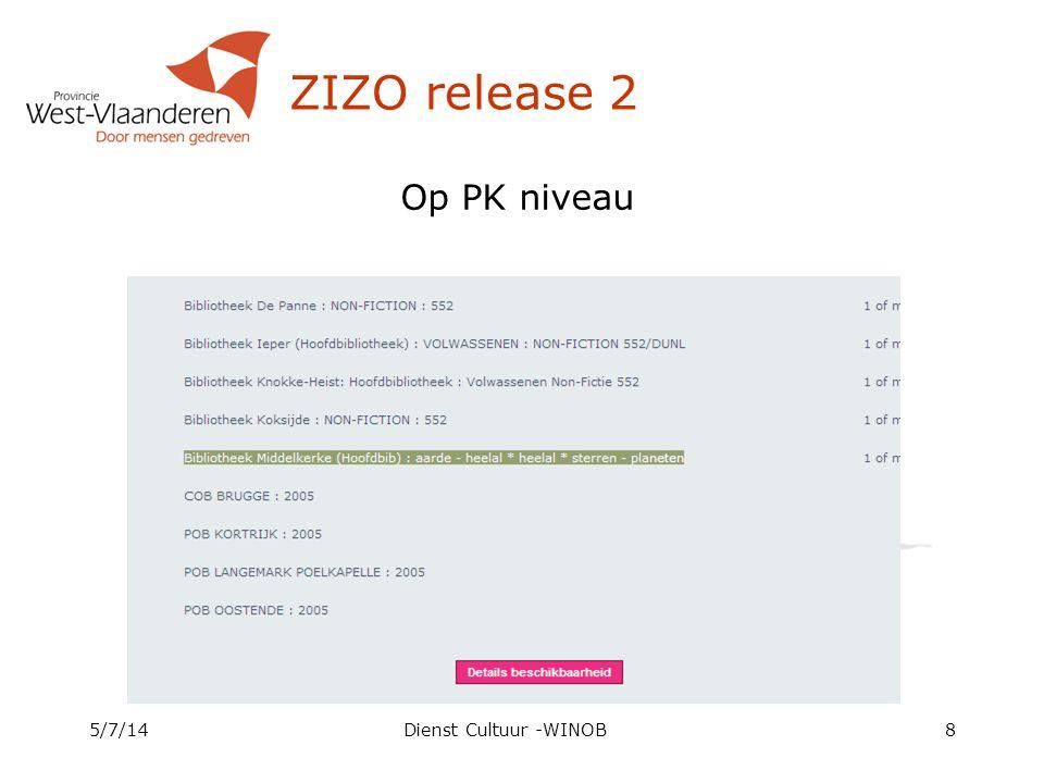 ZIZO release 2 Op PK niveau 4/4/17 Dienst Cultuur -WINOB