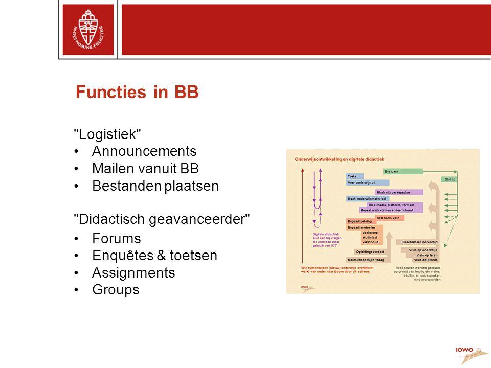 Functies in BB Logistiek Announcements Mailen vanuit BB