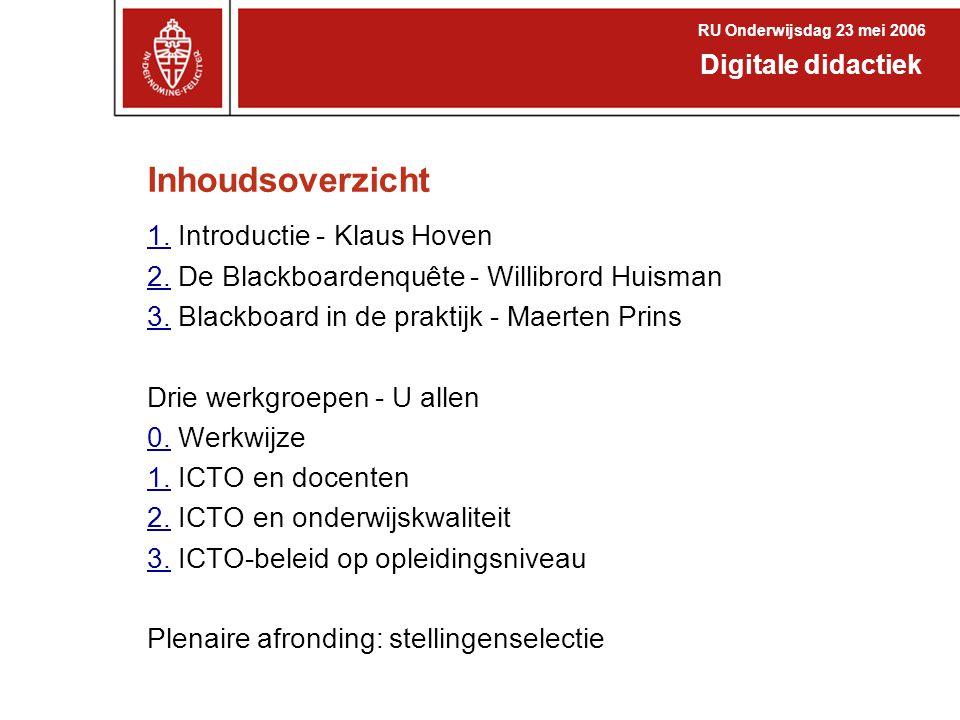 Inhoudsoverzicht 1. Introductie - Klaus Hoven