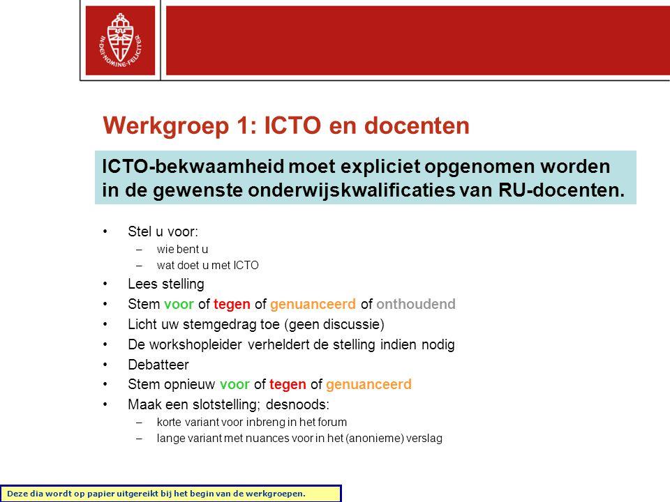 Werkgroep 1: ICTO en docenten