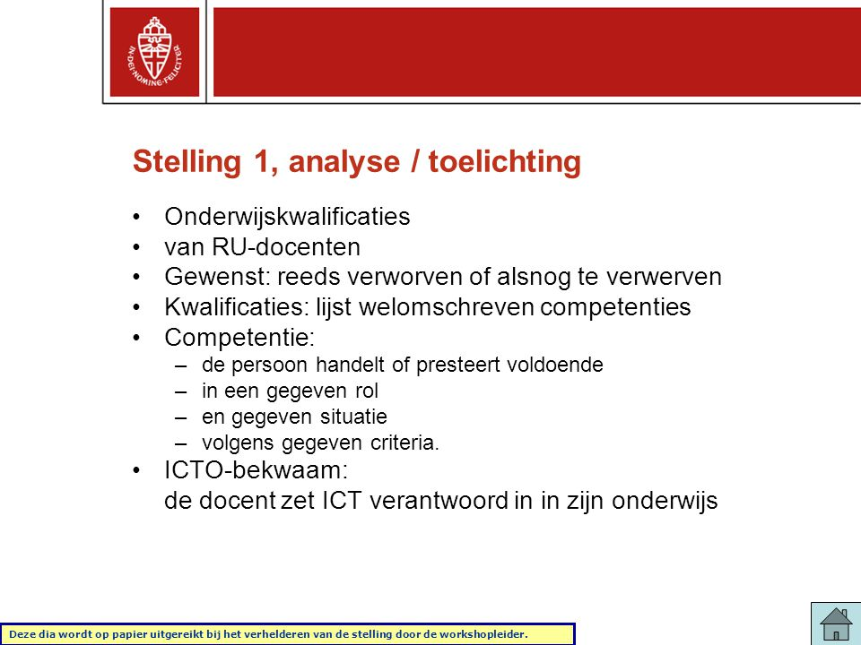 Stelling 1, analyse / toelichting
