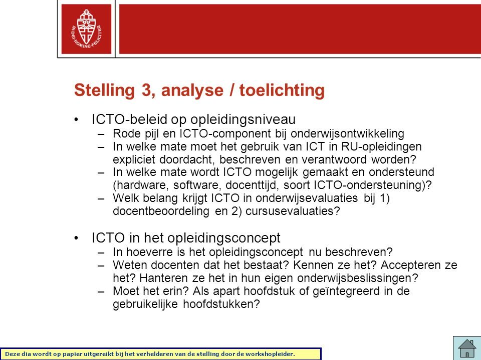 Stelling 3, analyse / toelichting
