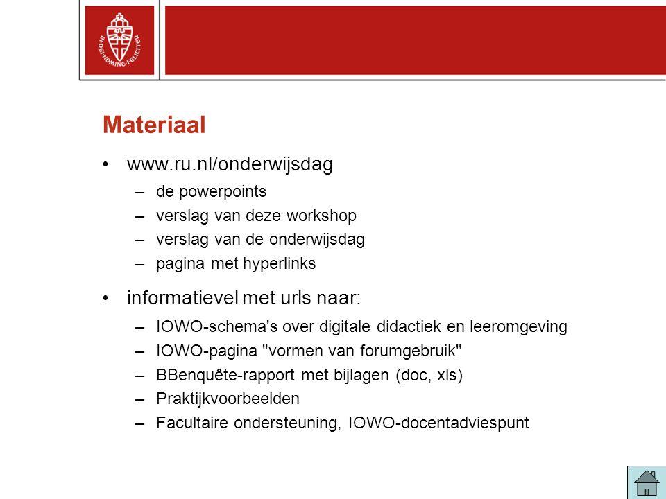 Materiaal www.ru.nl/onderwijsdag informatievel met urls naar: