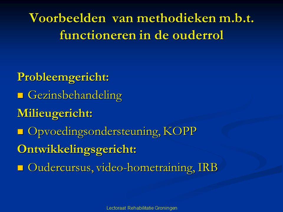 Voorbeelden van methodieken m.b.t. functioneren in de ouderrol