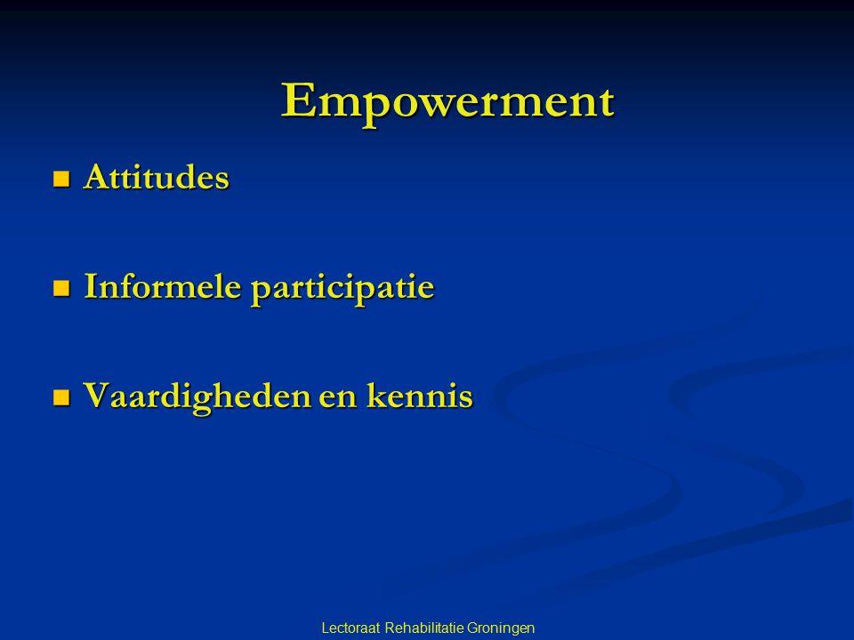 Empowerment Attitudes Informele participatie Vaardigheden en kennis