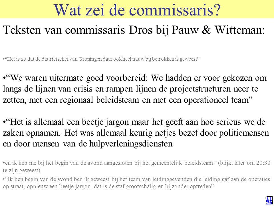 Wat zei de commissaris Teksten van commissaris Dros bij Pauw & Witteman: