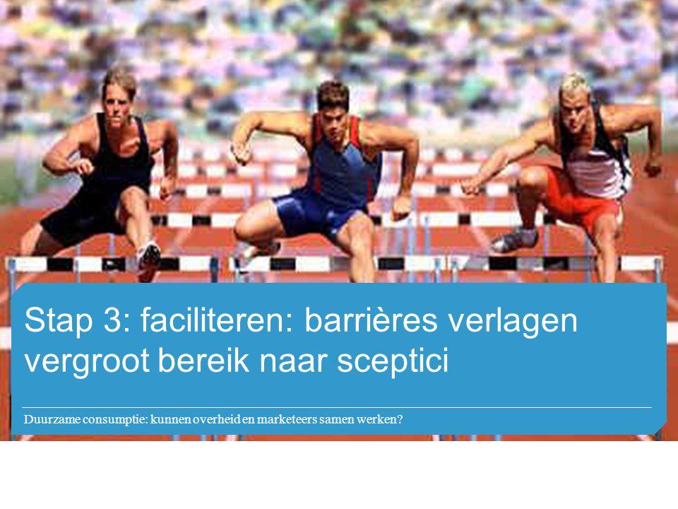 Stap 3: faciliteren: barrières verlagen vergroot bereik naar sceptici