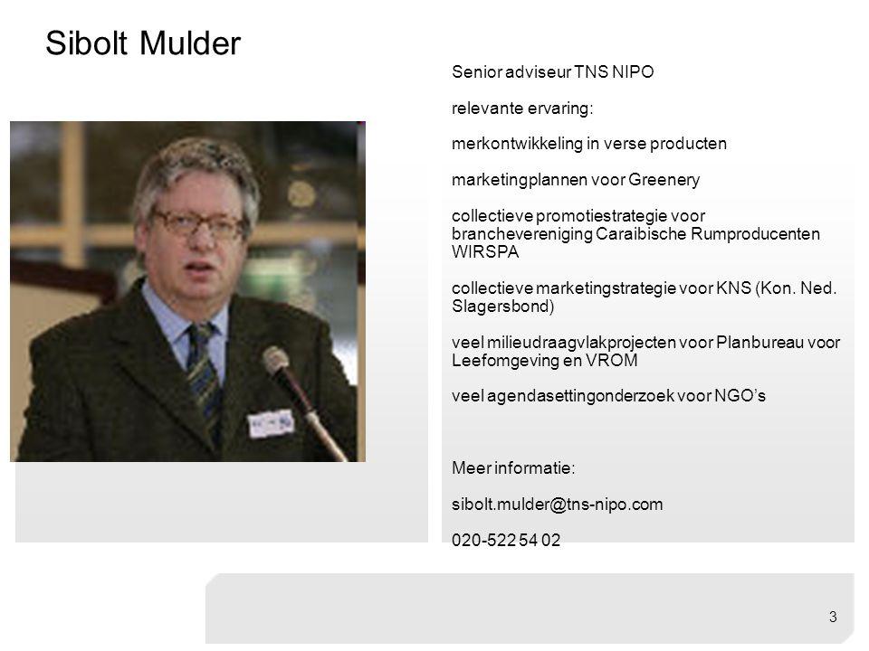 Sibolt Mulder Senior adviseur TNS NIPO relevante ervaring: