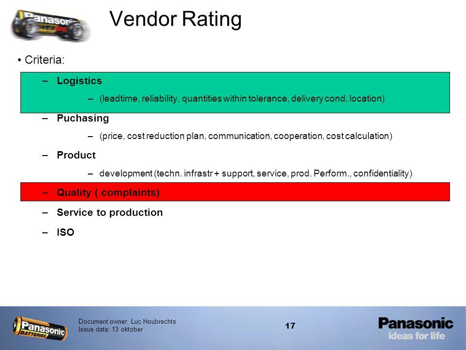 Vendor Rating Criteria: Logistics Puchasing Product