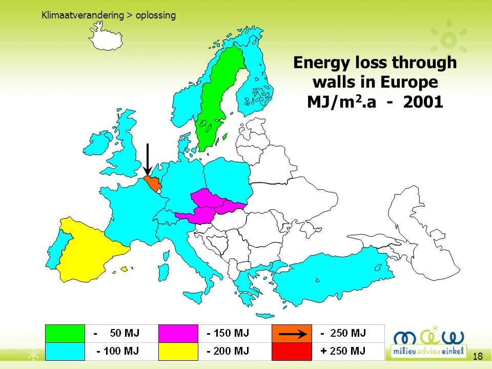 Energy loss through walls in Europe MJ/m2.a - 2001