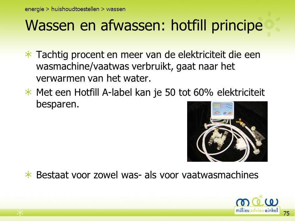 Wassen en afwassen: hotfill principe